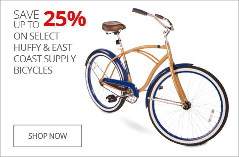 Up to 25% off Huffy & East Coast supply bikes
