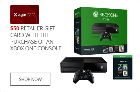 50$ retailer gift card with the purchase of an XBOX ONE console