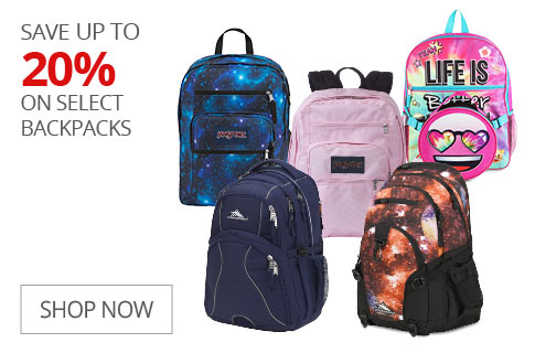 SAVE UP TO 20% On Select Backpacks