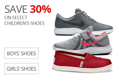SAVE 30% On Select Children's Shoes