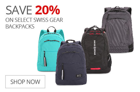 SAVE 20% On Select Swiss Gear Backpacks