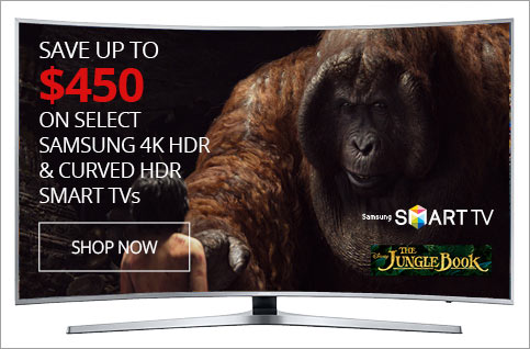SAVE UP TO $450 on Select 4k HDR & Curved HDR Smart TVs