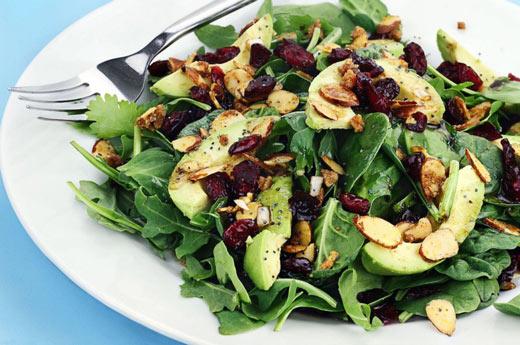 Spinach, cranberry and avocado salad