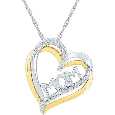 Sterling Silver 2 Micron 14K Yellow Gold Plated Diamond Accent Heart Pendant 18 In.