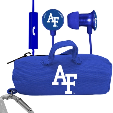 AudioSpice Air Force Falcons Scorch Earbuds + Mic Clamshell With BudBag