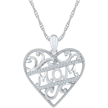 Sterling Silver 1/10 CTW Mom Heart Pendant