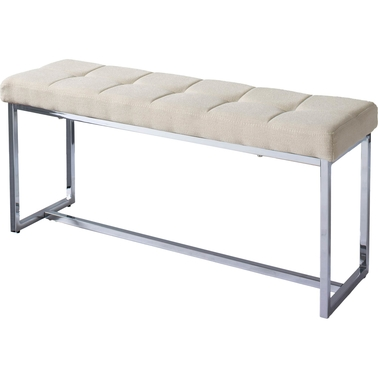 CorLiving Huntington Modern Fabric Bench with Chrome Base