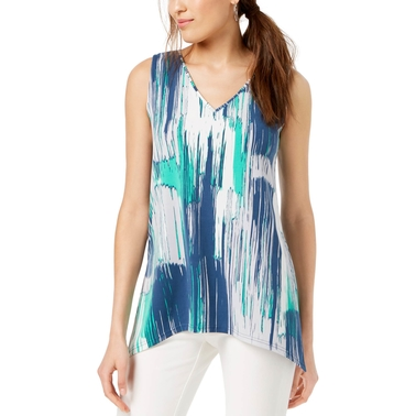 Alfani Petite Printed V Neck Top