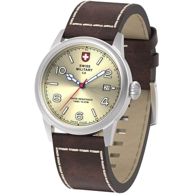 Swiss Military Men's Vintage Stainless Steel Leather Strap Watch 40mm 78335-8