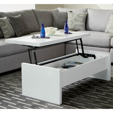 Scott Living Contemporary Lift Top Coffee Table with High Gloss Finish