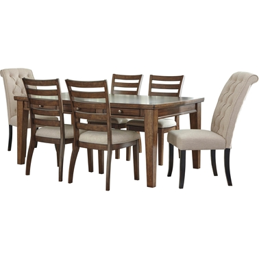 Signature Design by Ashley Flynnter 7 pc. Dining Set with Linen Host Chairs