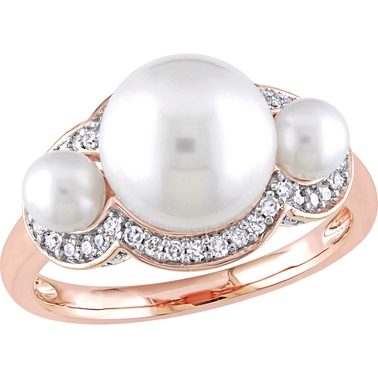 Michiko 10K Rose Gold Cultured Freshwater Pearl and 1/5 CTW Diamond Cocktail Ring