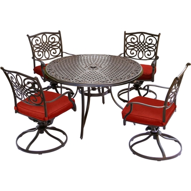 Hanover Traditions 5 pc. Swivel Rocker Dining Set with Cast Top Table