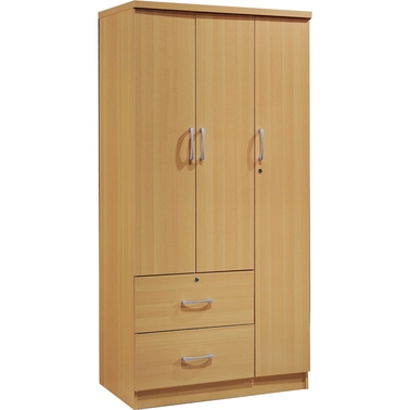 Hodedah 3 Door Armoire with 2 Drawers and 3 Shelves
