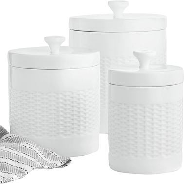 Martha Stewart Collection Basketweave Canister 3 pc. Set