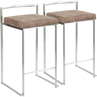 LumiSource Fuji Stainless Steel Fabric Cushion Stacker Counter Stool 2 pk.