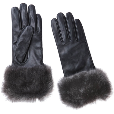 New York Accessory Leather Glove with Fur Cuff