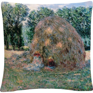 Trademark Fine Art Claude Monet Haystacks Decorative Throw Pillow