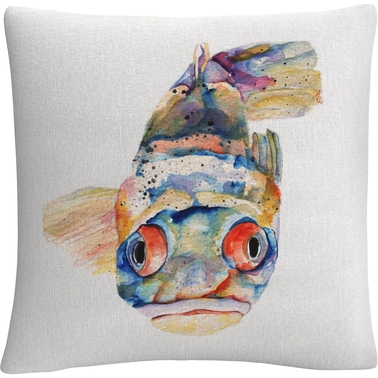 Trademark Fine Art Pat Saunders White Blue Fish Decorative Throw Pillow