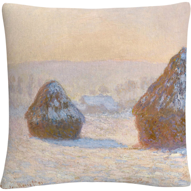 Trademark Fine Art Monet Wheatstacks Snow Effect in Morning Decorative Throw Pillow