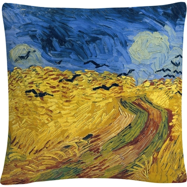 Trademark Fine Art Vincent van Gogh Wheatfield With Crows Decorative Throw Pillow