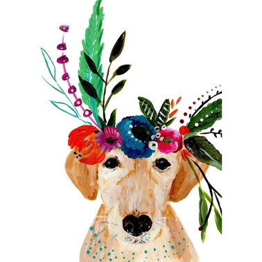 GreenBox Art Canvas Boho Golden Dog 10 x 14