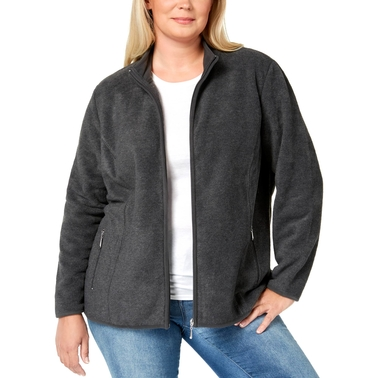 Karen Scott Plus Size Zip Front Fleece Jacket