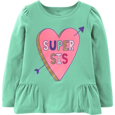 Carter's Little Girls Glitter Super Sis Ruffle Tee