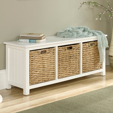 Cool Sauder Cottage Road Bench With Baskets Benches Home Ibusinesslaw Wood Chair Design Ideas Ibusinesslaworg
