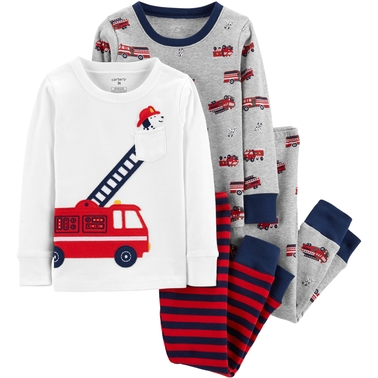 Carter's Infant Boys Firetruck Snug Fit Cotton 4 pc. Pajama Set