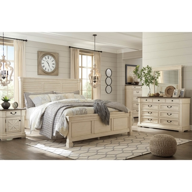 Ashley Bolanburg Queen Louvered Bed 5 pc. Set