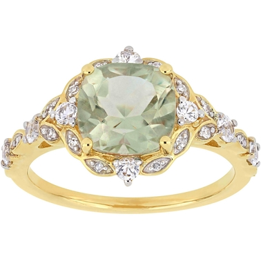 Sofia B. 14K Yellow Gold Green Amethyst White Sapphire Diamond Accent Vintage Ring