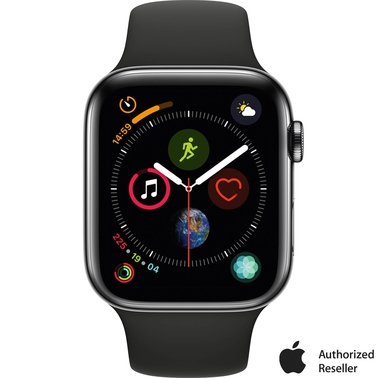 Apple Watch Series 4 GPS + Cellular 44mm Stainless Steel Case with Black Sport Band