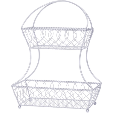 Mikasa Gourmet Basics 2 Tier Flatback Wire Loop Lattice Basket