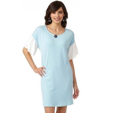 JW French Terry Dress with Woven Sleeves