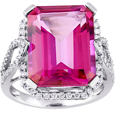 Sofia B. Pink Topaz and 1/2 CT TW Diamond Cocktail Ring in 14k White Gold