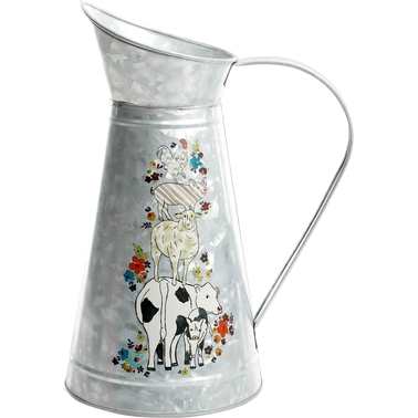 Gibson Home Life on the Farm Galvanized Pitcher