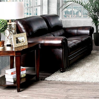 Furniture of America Edmont Leather Love Seat
