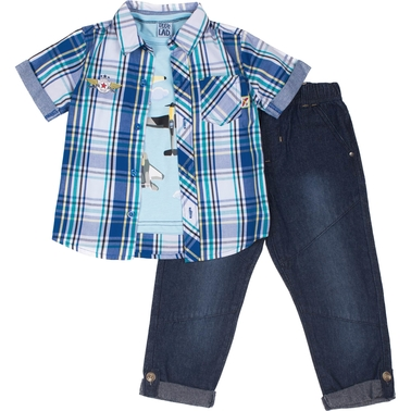 Little Lads Toddler Boys 3 pc. Airplane Pants Set