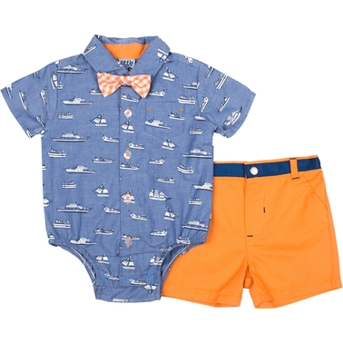 Little Lads Infant Boys 3 pc. Boat Creeper Shorts Set