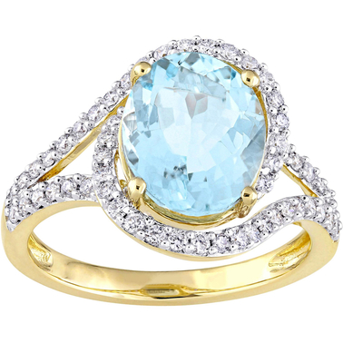 Sofia B. Oval Aquamarine and 1/2 CT TW Diamond Swirl Ring in 14k Yellow Gold