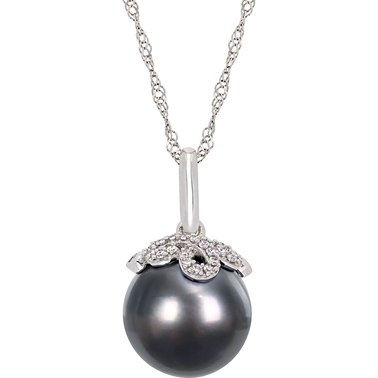 14K White Gold Tahitian Cultured Pearl and Diamond-Accent Necklace