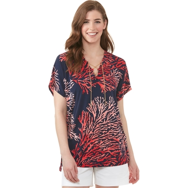 Michael Kors Reef Print Lace Up Tunic Top