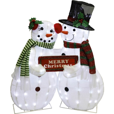 Puleo 34 in. Lighted Snowman Couple with LED Lights