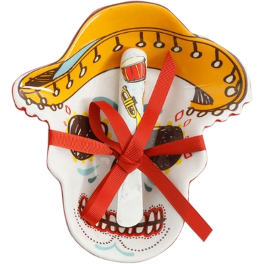Gibson Home Day of the Dead Skull Sombrero Bowl with Spreader Set