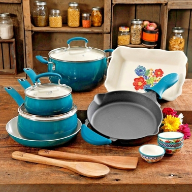 Pioneer Woman Dazzling Dahlias 17 pc. Cookware Combo Set Ocean Teal