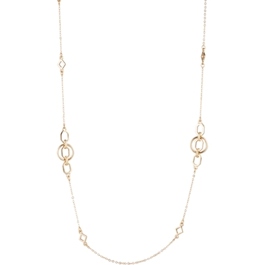 Anne Klein Goldtone Circle Octagon Necklace 42 in.