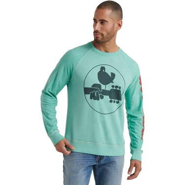Lucky Brand Woodstock Logo Burnout Crew Pullover