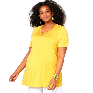 Avenue Plus Size Mesh Inset V Neck Tee