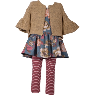 Bonnie Jean Infant Girls Floral Top, Jacket and Leggings 3 pc. Set